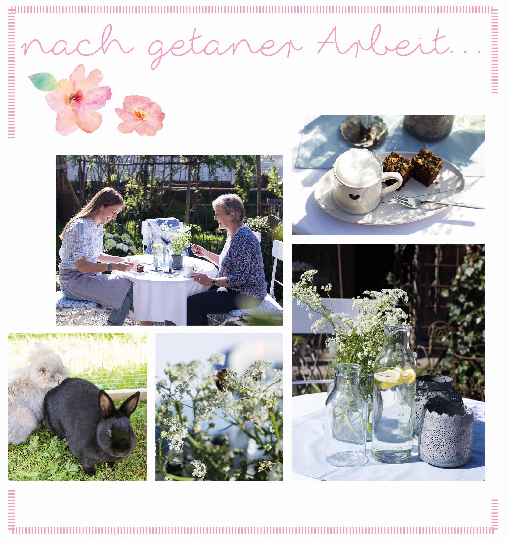 Edith und Blanka entspannen nach getaner Arbeit bei Kaffee und Kuchen im hauseigenen Garten.
