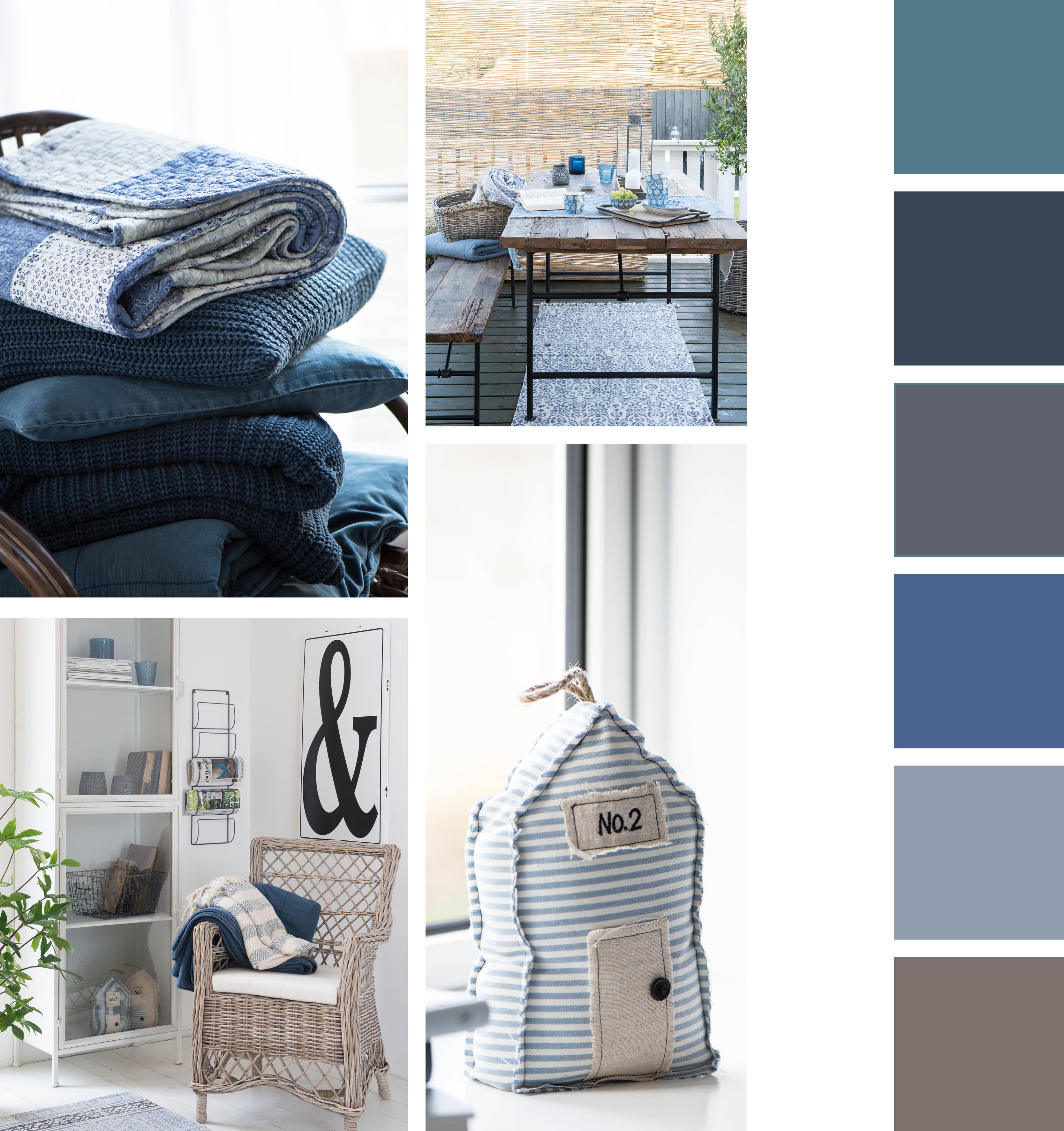 Nordischer Sommer-Chic in deinen vier Wänden: Kombiniere verschiedene Blautöne mit Weiß oder erdigen Tönen. Das zaubert dir die Leichtigkeit des Nordens in dein Zuhause.